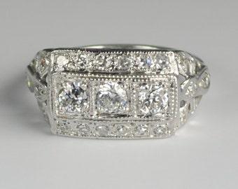 Art Deco Diamond Wide Cigar Band Ring