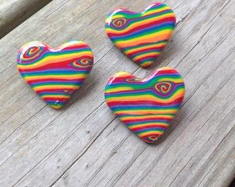 Rainbow Woodgrain Heart Pin