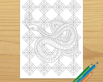 Snake Coloring Page, Reptile Coloring Page, Adult Coloring Page, Colorist, Rattlesnake Coloring Page, Digital Download