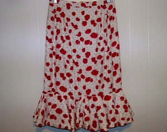All Silk Raul Blanco Skirt With Full Flounce Ruffle At Hem - Size 8 - Red Dirt Girl - 217