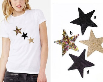 3 Heat Transfer Applique Design of Star Patch - for Fashion Crafts and Home Decor