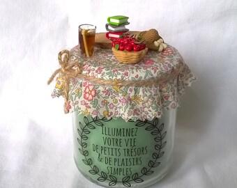 """Bougie verte """"illuminez votre vie de petits trésors et de plaisirs simples"""""""
