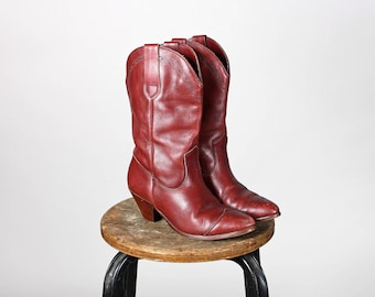 Vintage Deep Maroon Leather FRYE Western Boots- Women's Leather Pointed Tall Cowboy Cowgirl Heel Tall Brown Red Boot - Size 6