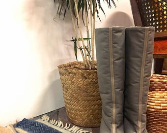 70s Golo Gray Knee High Winter Boots, Faux Fur Lined Canvas heel boots