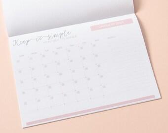 Monthly calendar 2018-2019, monthly calendar notepad 2018/2019, calendar pad monthly, blank monthly calendar, monthly desk calendar 18/19