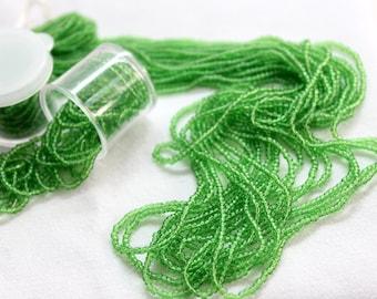 Vintage Beads / Seed Bead / Preciosa Czech Glass / Soft Opaque Grass Green  / 2 + Strands per container / sz 2