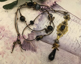Gothic necklace black antique gold