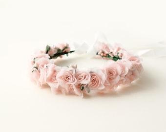 Flower girl crown, Pink rose wreath, Pink flower girl crown, rose floral wreath, Toddler Photo Prop, Photography, Flower girl - 12+ months