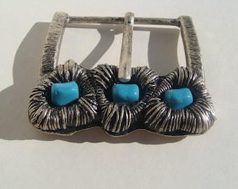 large metal belt buckle aged with 3 turquoise beads passage 6 cm