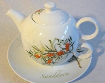 4-piece teapot- saucer porcelain sea buckthorn -Tea for one- 0.4*