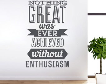 Typography Stickers - Achieve With Enthusiasm - Office Decor - Inspirational Stickers - Motivational Decals - SKU:AWESticker1
