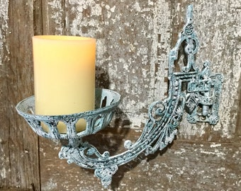 Late 1800's Victorian Cast Iron Wall Sconce, Oil Burning Lantern Swing Arm, Architectural Salvage, Swivel Ornate Aqua Blue