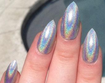 fake nails, stiletto nails, holographic nails, holo