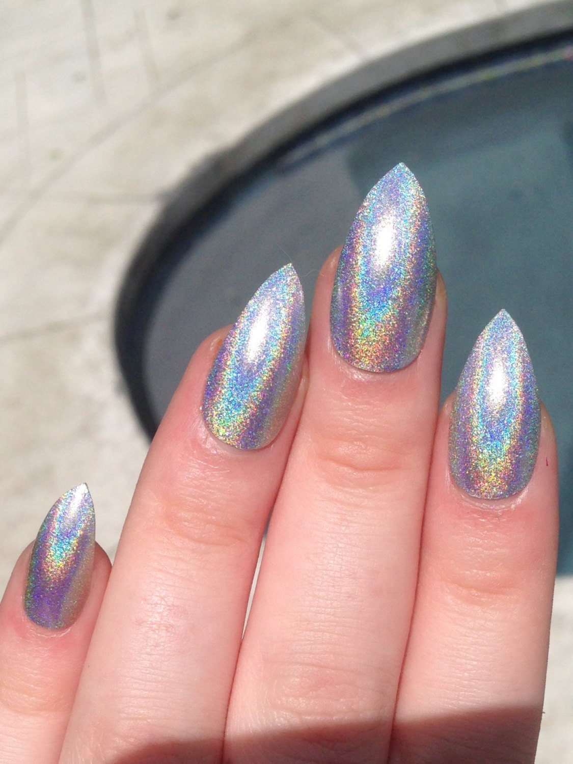 fake nails, stiletto nails, holographic nails, holo from nailsbykate ...