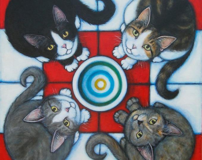 4 Hungry Cats Original Heidi Shaulis oil painting
