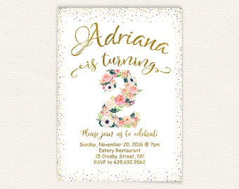 Watercolor floral, white and gold, birthday girl, girls birthday, floral invitation, birthday party, 2nd birthday, printable invitation 59