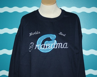 Embroidered Grandma sweatshirt - World's Best Grandma - Custom embroidery -  Grandparent Gift - Design Your Own Shirt