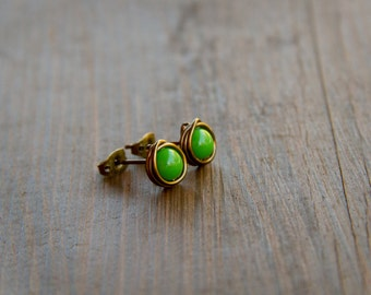Bright Grass Green Wire Wrapped Stud Earrings with Antiqued Bronze Wire and Vibrant Czech Glass Beads