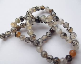 colored 6 mm 304 VYANA dragon vein agate 60 beads