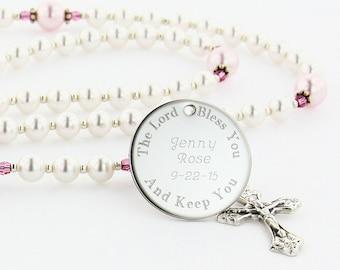 Girl Baptism Rosary, Personalized Rosary, Christening Gift, Baptism Gift, Swarovski Rosary, Pearl Rosary, White & Pink Rosary, PreciousWPc