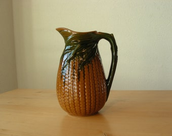 Vintage majolica corn pitcher