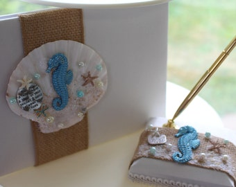 Guest Book and Pen Set with Burlap and Starfish and Sand Dollar Center/ Beach Themed Wedding / Destination Wedding Guest Book Beach