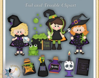 Witch Clipart, Halloween, Toil and Trouble