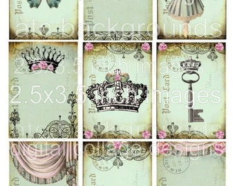 DaiNTy PaSTeLs DIGITAL COLLAGE SHEET CRoWNs BaLLeRiNa BuTTeRFLy pink roses bows antique paper postcard atc backgrounds altered hang tags handmade greeting card making supplies hang tags books journals scrapbooking s23