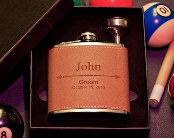 Flask in Gift Box, Personalized Groomsman Leather Flask w/ Arrow Design, Custom Engraved Gift, Best Man, Bachelor Party, w/ Funnel, Bachelor