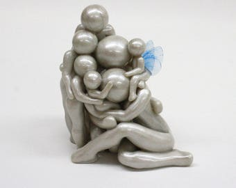 Family of Seven with heavenside baby - memorial keepsake - you choose wing color - gift for loss and comfort - polymer clay sculpture