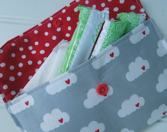 Privacy pouch - Sanitary pad holder - Sanitary pouch - Tampons holder - Discrete pouch - Feminine hygiene pouch - Clouds