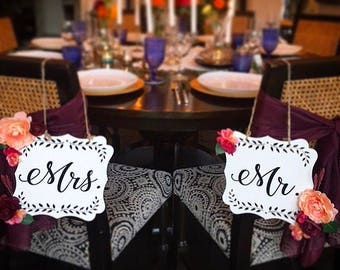 Mr. and Mrs. signs