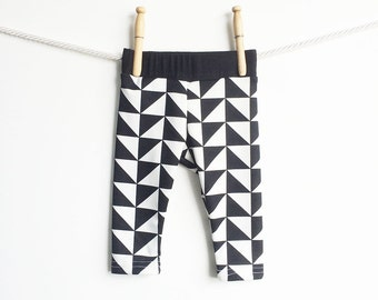 Mod Baby Leggings | Graphic Baby Tights | Retro Baby Pants | Black and White Toddler Leggings