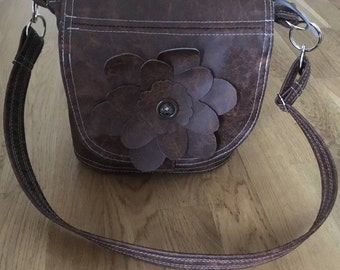 Handmade brown recycled leather handbag