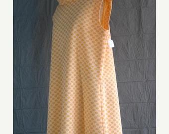 On Sale 1960's Mini Dress Cowl Neck Sleeveless Orange Floral patterned Polyester