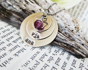 Custom Stamped Name Necklace for Moms - Personalized with Birthstone Charm - Three Discs