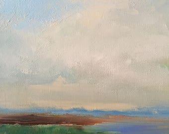 "By the shore- Beach Painting- 8 x 10- Minimalist Beach Painting- Original Oil Painting-1/2"" thick painted edge"