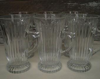 Clear glass Pedestal Mugs, Coffee Mugs, Cocoa Mugs