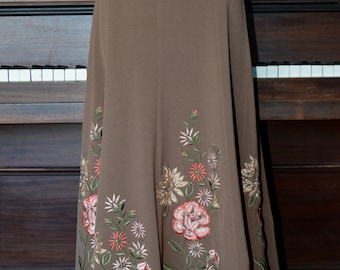 Floral embroidered brown skirt