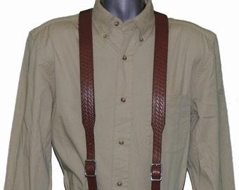 Basket Weave Leather Suspenders in multiple colors