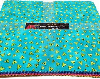 Clothworks Fabric, Laurel Burch, Rainbow Pre-Cuts, 42 10-inch Squares, Layer Cake