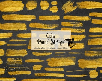 Gold Paint Strokes Clipart, gold paint brush strokes, PNG Gold Watercolor Paint Strokes for commercial use, instant download