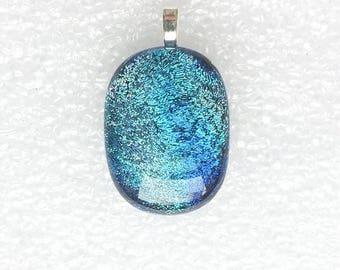 Fused Dichroic Glass Pendant, Turquoise, Sky Blue, Cobalt Blue, Cabochon, Cab, Blue, Dichroic Jewelry