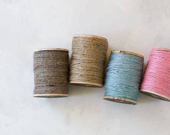 Jute Twine on Rustic Wooden Spool - Natural Brown / Pink / Blue / Pewter Gray - 200 feet