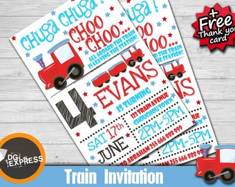 PRINTABLE train birthday invitation train party boys party