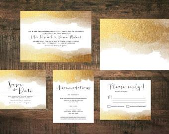 Golden Wedding Invitation Suite (Set of 25)   Metallic Invitations, Gold Invites, Wedding Invitation Set, Gold