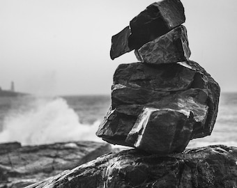 B&W Rock sculpture, Maine coast, rocky beach, Wall art, Home decor, Photography, Photography print,  Maine photography, New England photo