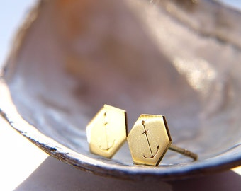 Minimalist eco friendly hexagon anchor stud earrings, gold plated sterling silver