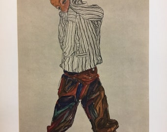 "Egon Schiele ""Boy in striped Shirt"" from Egon Schiele-As a Draughtman by Otto Denesch, 1950, 9.25 x 13.5 inches"