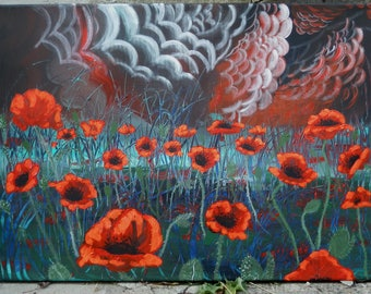 "Art Original Painting Abstract  ""  Poppies in the Night"""